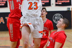 CIAC Boys Basketball; Watertown 63 vs. Wolcott 73 - Photo # 176