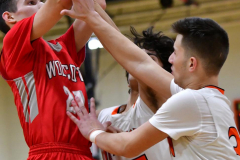 CIAC Boys Basketball; Watertown 63 vs. Wolcott 73 - Photo # 480