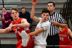 CIAC Boys Basketball; Wolcott 47 vs. Greenwich 76 - Photo # 154