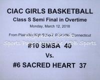 Gallery CIAC Girls Basketball Class S Semi: #10 SMSA 40 vs. #6 Sacred Heart 37