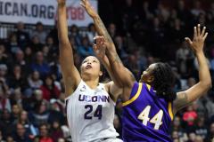 NCAA Women's Basketball AAC Tournament Quarterfinals - #1 UConn 92 vs. 8 ECU 65 (93)