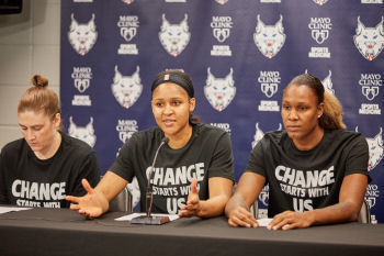 Minnesota Lynx forward Rebekkah Brunson shares a story from her childhood during Saturday's pre-game press conference at Target Center. Photo by Abe Booker III.